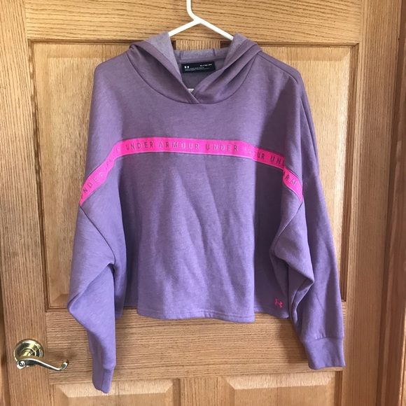 Under Armour Tops - Under Armour, purple, cropped, hood sweater